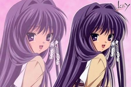 求紫色头发的动漫女生照片