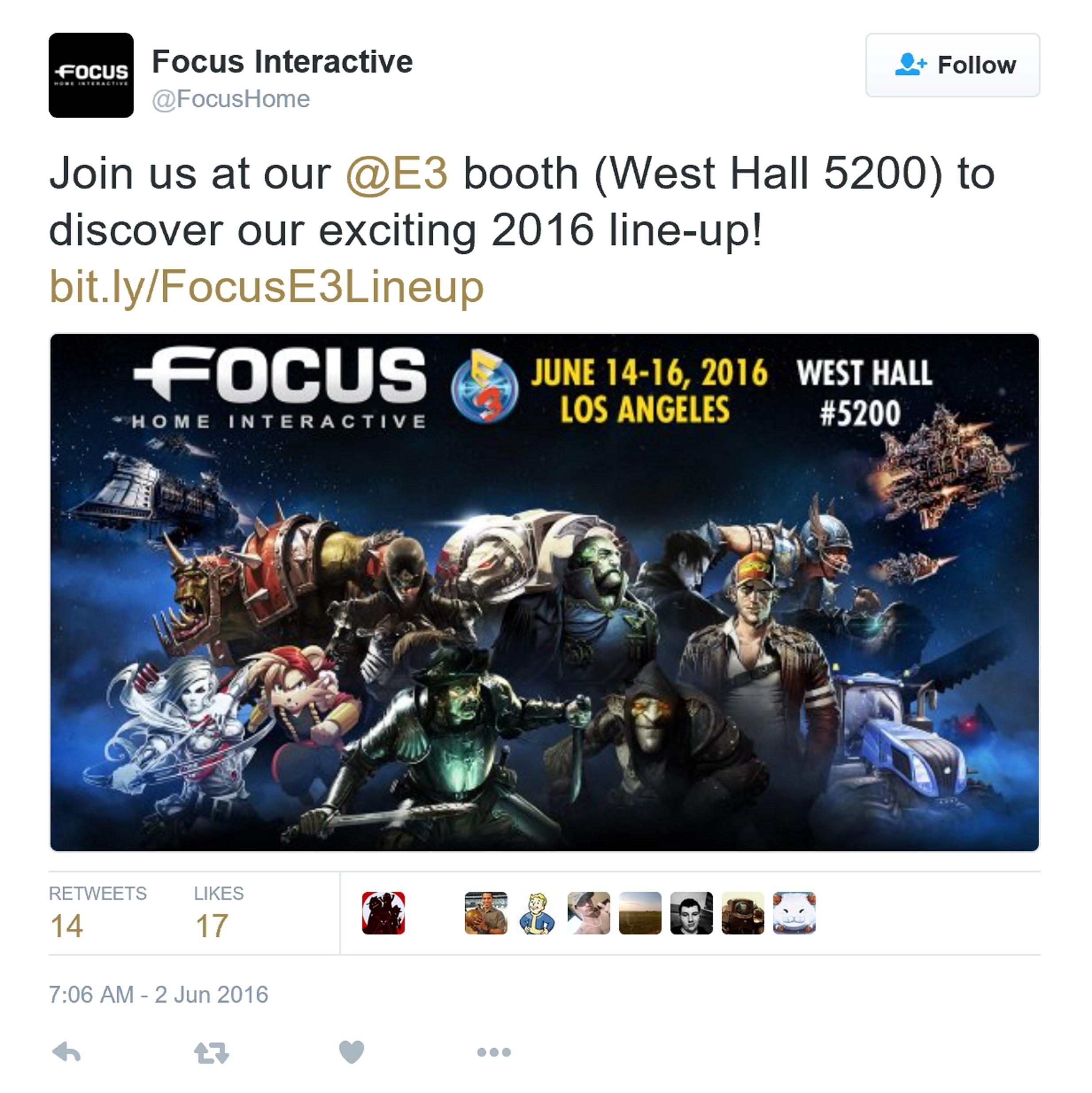 Focus公布E3 2016参展名单