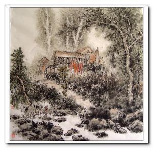 表现了作者对鹅群在小树林下悠然憩息的向往,他的大量山水画表现了