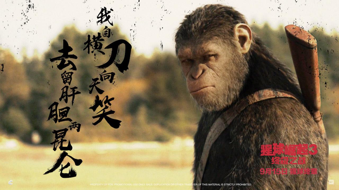 《猩球崛起3:终极之战》中国风海报义薄云天 凯撒风雪马嘶豪迈亮剑