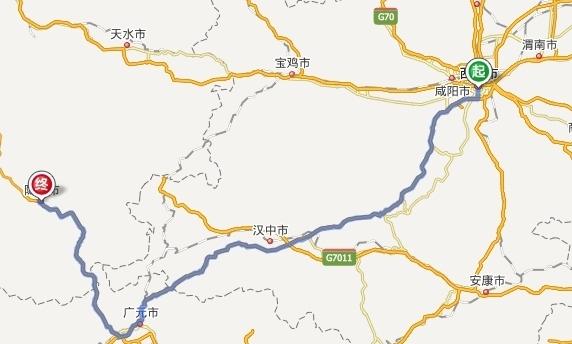 从陇南到西安走广元高速有多少公里?