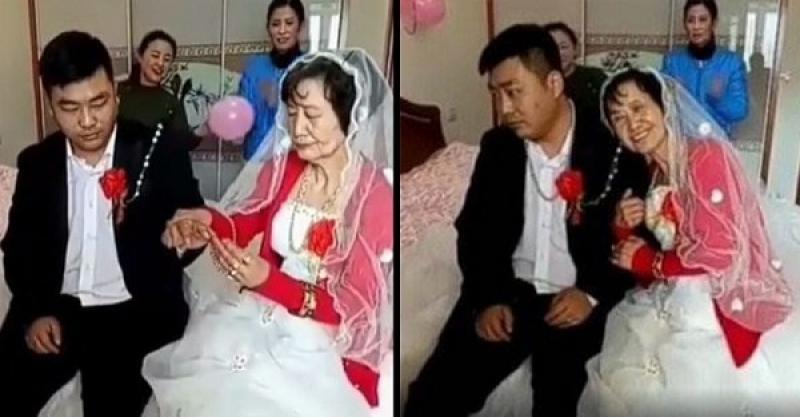 30岁新郎迎娶72岁老新娘,新郎一脸无奈、苦逼 - 蔷薇花 - 蔷薇花
