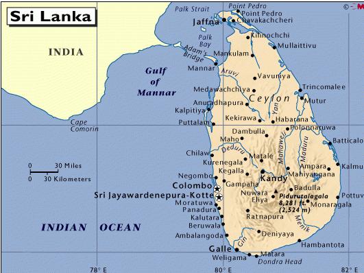 斯里兰卡地图中文版 斯里兰卡到中国地图 斯里兰卡到中国地图图片