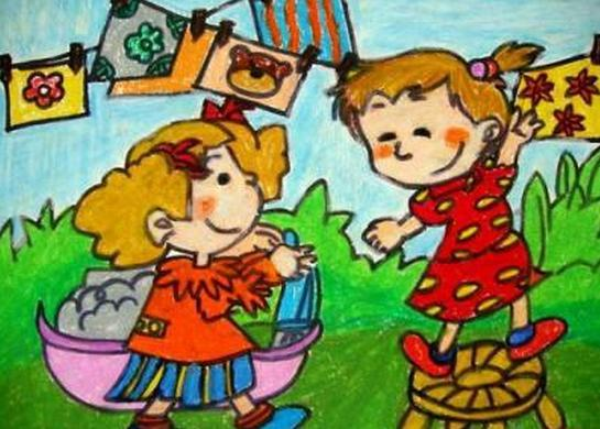 儿童画——雨中的蜻蜓