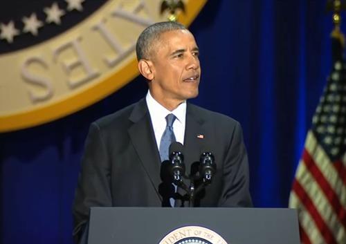 """奥巴马发表告别演讲 观众大喊""""再干四年"""" - 海 月 - 宁 静 致 远"""