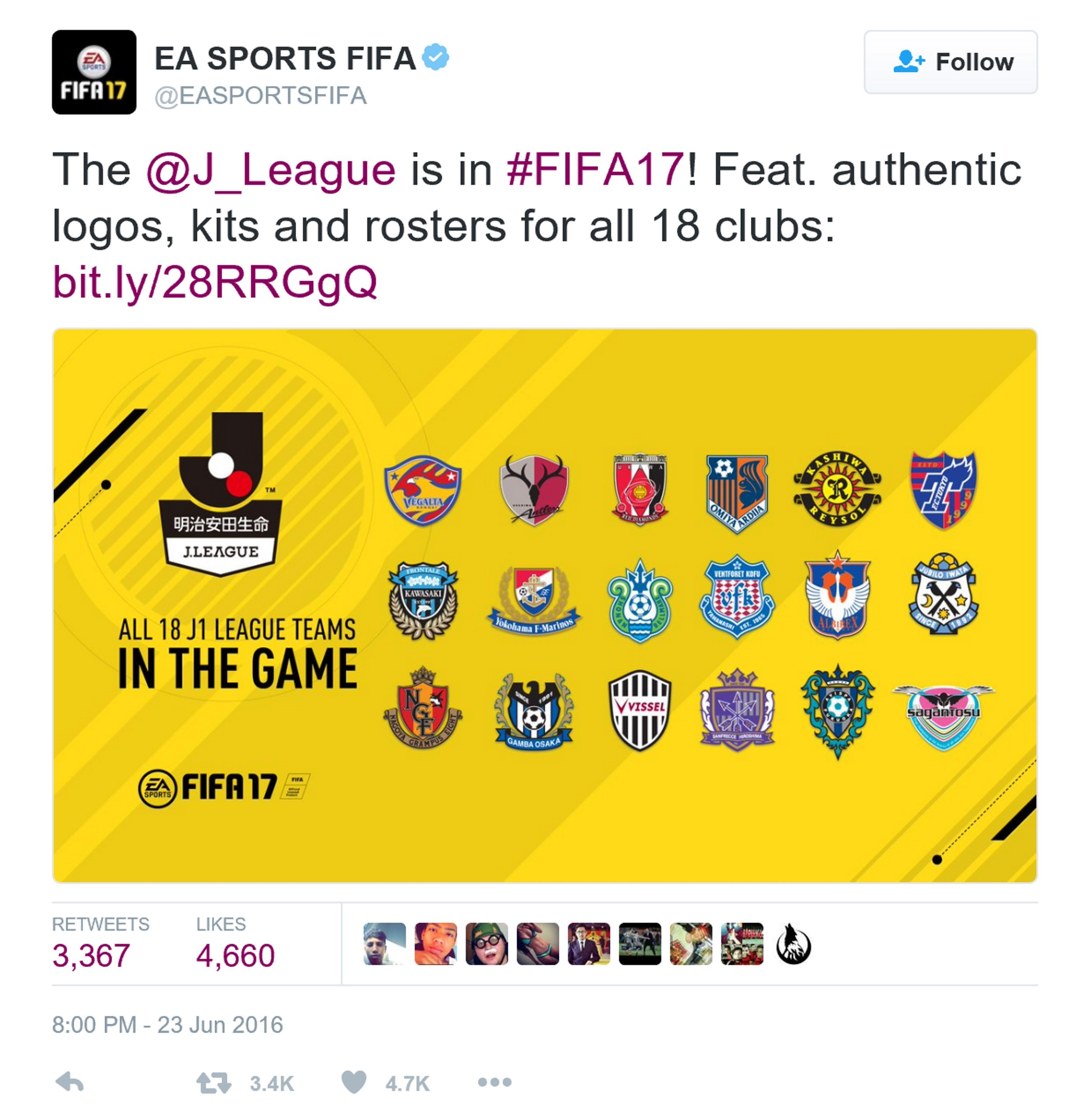 FIFA 17加入日本足球联赛