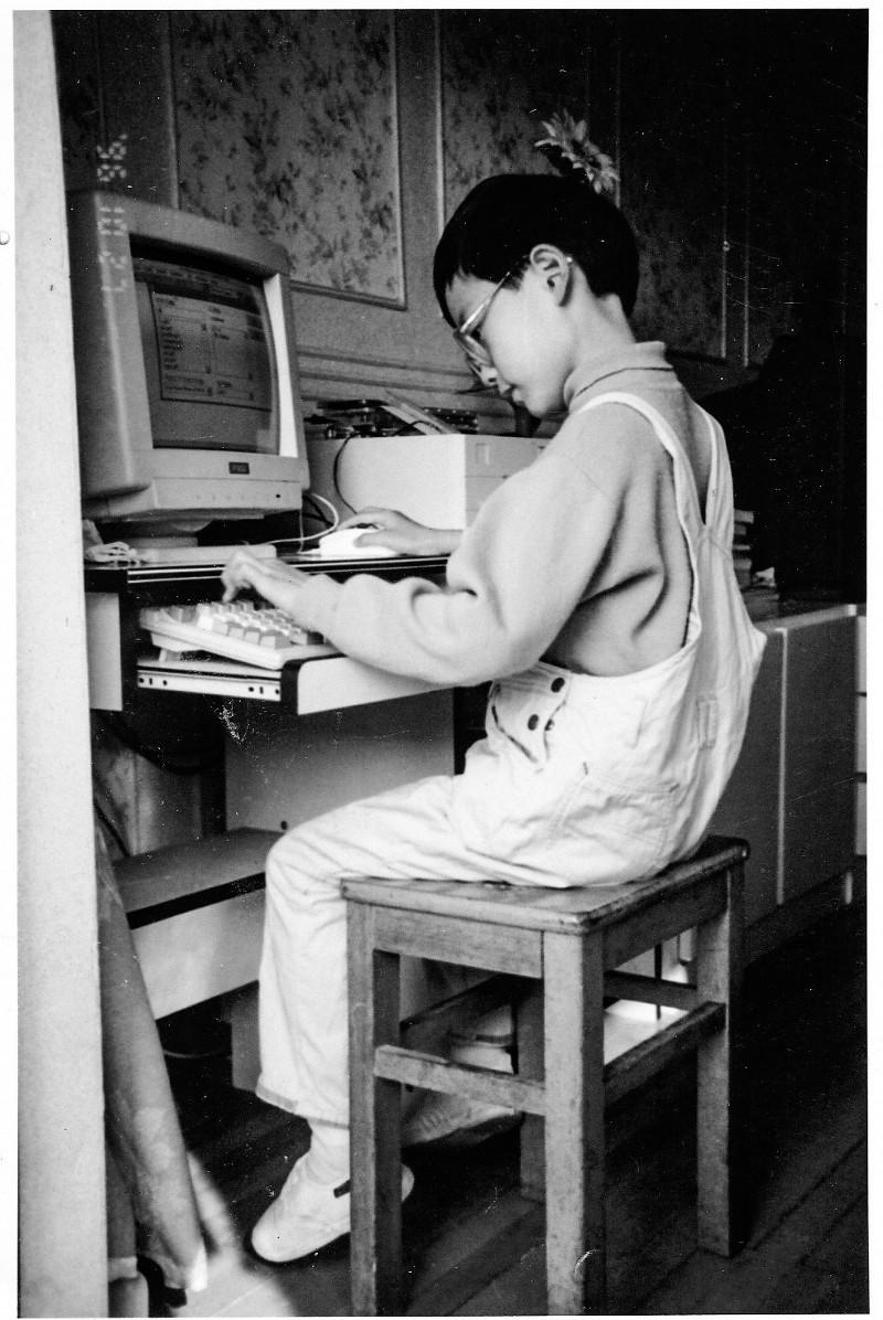 1996 年尤雨溪和他的第一台电脑