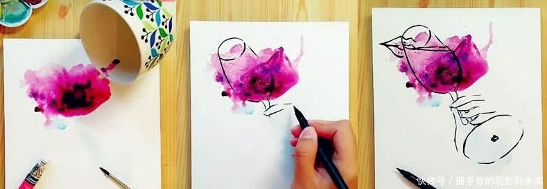 """颜料洒了不用担心,看看美术生怎么收拾""""残局"""",网友:这才是技术流"""