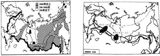 """图为""""俄罗斯地形略图""""与俄罗斯铁路及工业区分布图"""