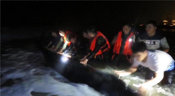 深圳1.5吨长须鲸寒夜搁浅 武警边防官兵紧急营救