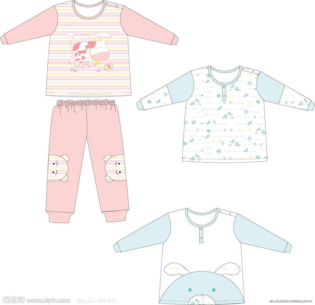 婴儿服装设计矢量图__儿童