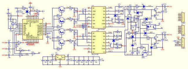 驱动板电路eg8010   ir2110,用于检测短路保护的电压降.