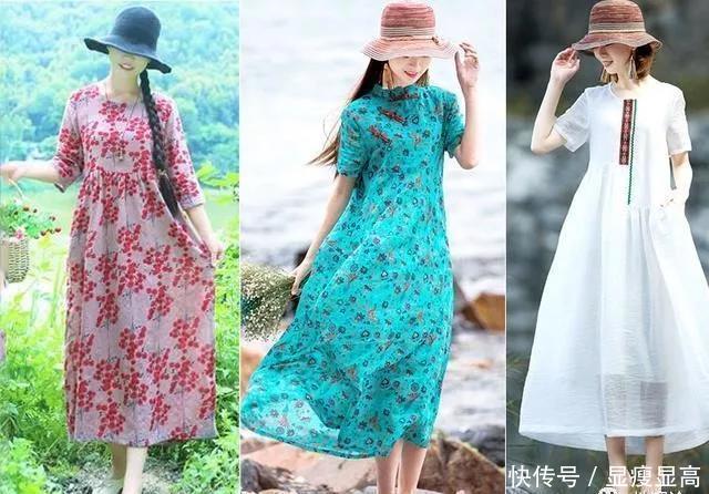 夏日,棉麻连衣裙这么穿,美得清凉又出众
