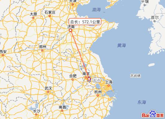 中国地图上句容到济南之间的直线距离是多少?