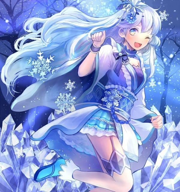 蓝色,动漫女生