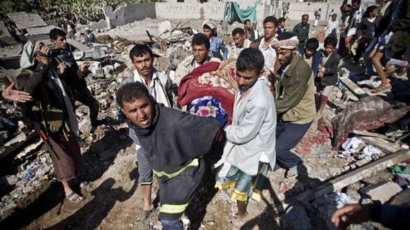 Coalition forces launched air strikes in Yemen killed at least 11 people