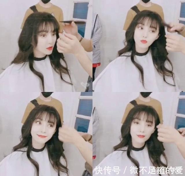 杨颖空气刘海发型图片