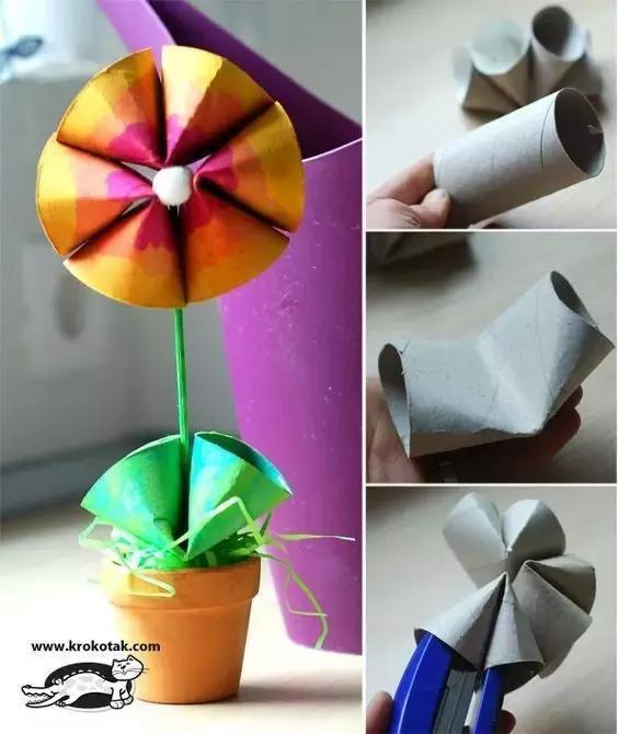 颜料,塑料小眼睛,剪刀,压花机,不织布 步骤如下图 材料:纸筒四个,泡沫